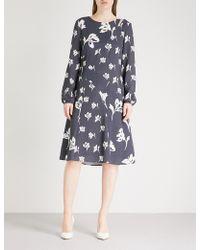 St. John - Floral-print Stretch-silk Dress - Lyst