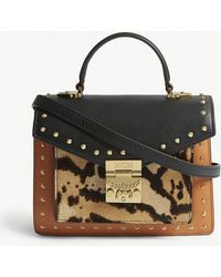 MCM - Leather And Leopard Print Combo Bag - Lyst