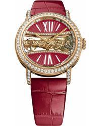 Corum   B113/03168 - 113.000.85/0f90 Dv91r Golden Bridges 18ct Gold With Diamonds And Alligator Leather Strap Watch   Lyst