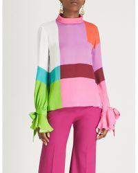 Mary Katrantzou - Frida Colourblocked Crepe Shirt - Lyst