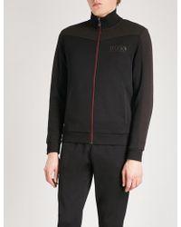 BOSS Green - Contrast-panel Jersey Sweatshirt - Lyst
