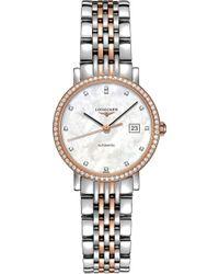 Longines - L4.310.5.88.7 Elegant Rose Gold And Diamond Watch - Lyst