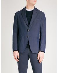 Armani - Honeycomb-jacquard Tailored-fit Cotton-blend Jacket - Lyst