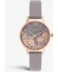 Olivia Burton - Ob16mv92 Lace Detail Rose-gold Plated And Leather Demi Dial Watch - Lyst