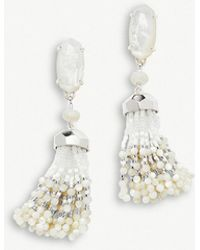 Kendra Scott - Dove Rhodium-plated Ivory Mother Of Pearl Tassel Earrings - Lyst