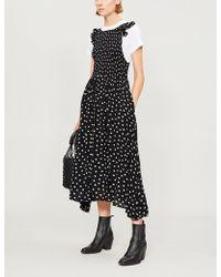 Free People - Butterflies Dot Polka-dot Woven Midi Dress - Lyst