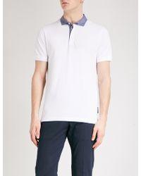 Armani - Striped-collar Cotton-piqué Polo Shirt - Lyst