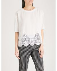 The Kooples - Lace-panelled Jersey T-shirt - Lyst