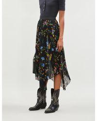 86f979c68 Maje - Jeudi Graphic-pattern Crepe Midi Skirt - Lyst