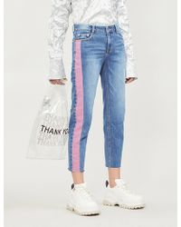 SJYP - Contrast Side-panel High-rise Slim-fit Jeans - Lyst