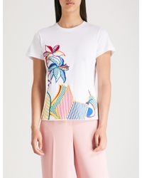 Mary Katrantzou - Floral-embroidered Cotton-jersey T-shirt - Lyst