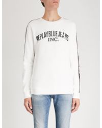 Replay - Logo Tape Cotton-jersey Sweatshirt - Lyst