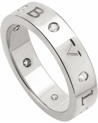 BVLGARI - Band 18kt White Gold And Diamond Ring - Lyst