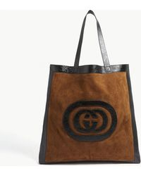 Gucci - Black And Tan Brown Interlocking Gg Leather And Suede Tote Bag - Lyst