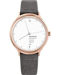 Mondaine - Mh1-l2210-lh Helvetica No1 Light Leather And Ip Rose-gold Stainless Steel Watch - Lyst