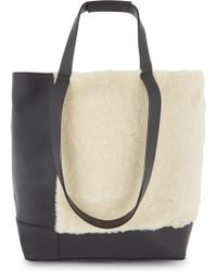 Whistles - Hampson Leather And Shearling Tote - Lyst