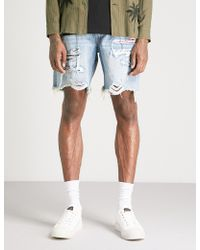 Amiri - Distressed Denim Shorts - Lyst