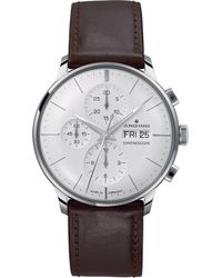 Junghans - 027/4120.01 Meister Stainless Steel And Leather Chronoscope Watch - Lyst