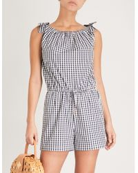 Tory Burch | Gingham-patterned Cotton-poplin Playsuit | Lyst