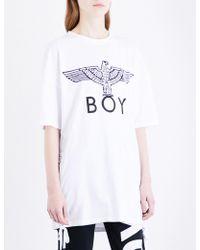 BOY London - Lace-up Sides Cotton-jersey T-shirt - Lyst