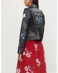Maje - Dream Tomorrow Embroidered Leather Jacket - Lyst