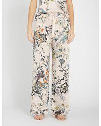 Meng Floral-print Silk-satin Pyjama Bottoms