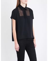 The Kooples Sport - Lace-insert Crepe-de-chine Polo Top - Lyst