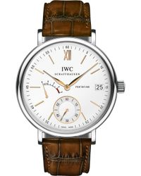 Iwc - Iw510103 Portofino Leather Watch - Lyst