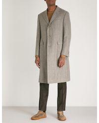 Corneliani - Checked Tailored-fit Wool Overcoat - Lyst