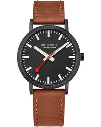 Mondaine - A660-30360-64sbg Sbb Classic Leather And Ip Black Stainless Steel Watch - Lyst