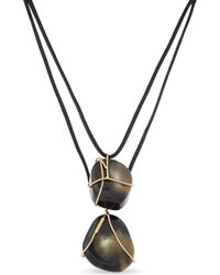 Sportmax - Two Stone Pendant Leather Necklace - Lyst