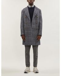 Eleventy Checked Double-breasted Wool And Alpaca-blend Coat - Gray