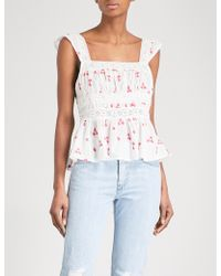 Free People | Beautiful Fleurs Embroidered Woven Cotton Top | Lyst