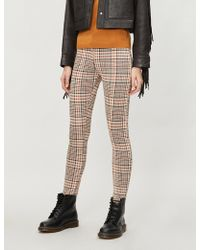 Free People - Carnaby High-rise Plaid Stretch-knit Skinny Trousers - Lyst