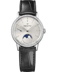Zenith - 16.2330.692/01.c714 Elite Lady Moonphase Alligator-leather And Diamond Watch - Lyst