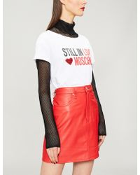 Love Moschino - Embellished Logo-print Cotton-blend T-shirt - Lyst