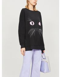Wildfox - Black Cat Printed Cotton-jersey Sweatshirt - Lyst