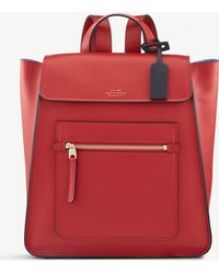 Smythson - Red Bond Smooth Leather Backpack - Lyst