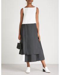 ADEAM - Asymmetric-hem Cotton Midi Dress - Lyst