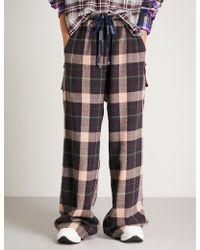 Natasha Zinko - Checked Wide High-rise Wool-blend Trousers - Lyst