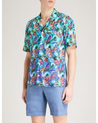 Eton of Sweden - Tropical Floral-print Slim-fit Cotton Shirt - Lyst
