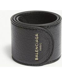 Balenciaga - Black Leather Snap Bracelet - Lyst