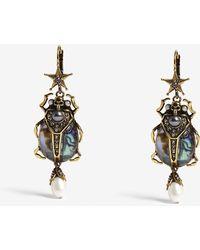 Alexander McQueen - Abalon Embellished Scarab Earrings - Lyst