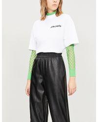 Palm Angels - Logo-flocked Cotton-jersey T-shirt - Lyst