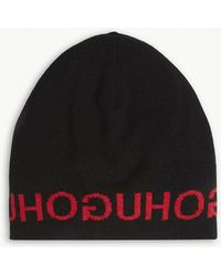 HUGO - Logo Wool And Cashmere-blend Beanie - Lyst