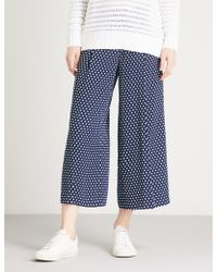 MICHAEL Michael Kors | Polka Dot Wide-leg High-rise Crepe Trousers | Lyst