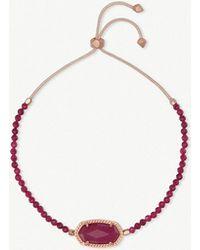 Kendra Scott - Elaina 14ct Rose Gold-plated And Maroon Jade Bracelet - Lyst