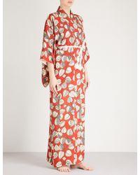 Kisshōten - Leaves Of Art Silk Kimono Robe - Lyst