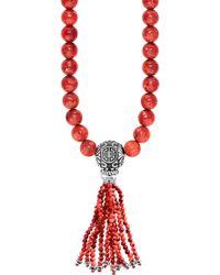 Thomas Sabo - Rebel At Heart Mala Power Sterling Silver And Coral Bead Necklace - Lyst