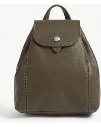 Longchamp - Khaki Green Le Pliage Cuir Leather Backpack - Lyst